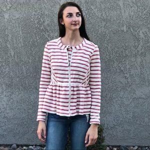 FreePeople striped zip jacket